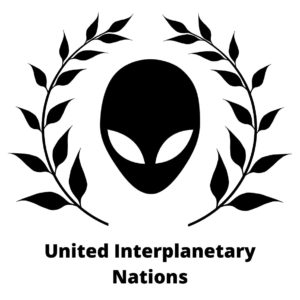 A picture of an alien with an olive wreath around it. The words 'United Interplanetary Nations' is placed below.: