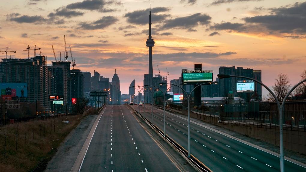 Empty highways in the city of Toronto.