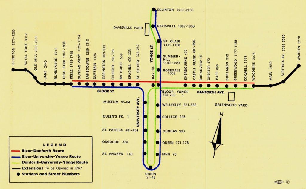 1966 Toronto Subway Map