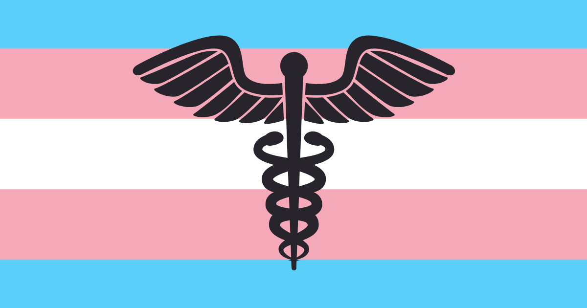 a caduceus in front of a trans flag