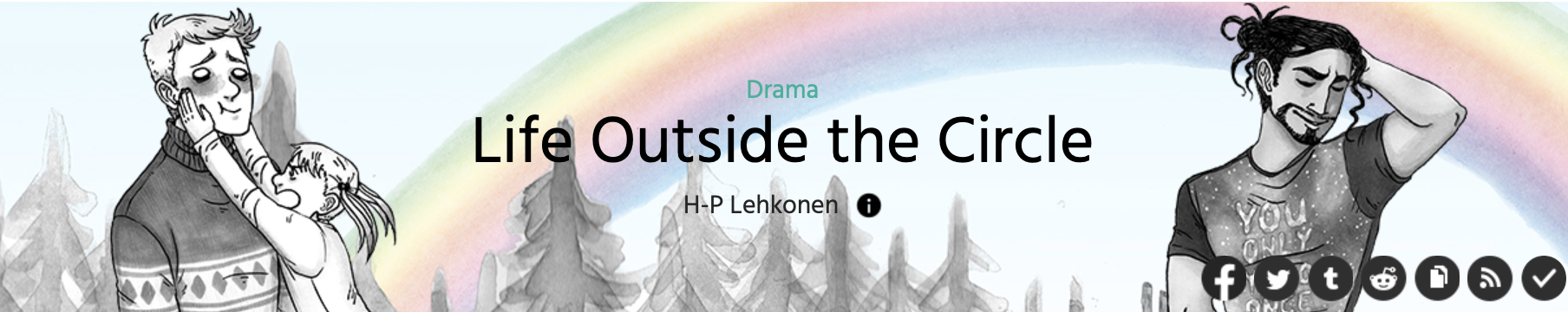 The cover image of Life Outside the Circle by H-P Lehkonen on Webtoons.